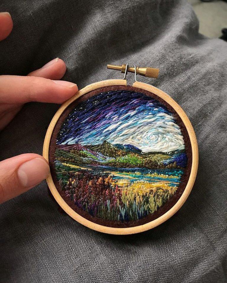 她的最新作品将刺绣的风景与真实的图像融合在一起,创造出超现实的
