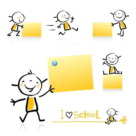 可爱小孩与便签纸矢量素材