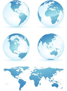 地球和世界地图矢量图下载