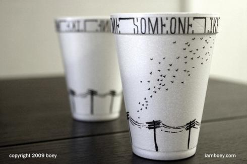 卡通雷锋帽简笔画; 花式咖啡杯唯美意境;